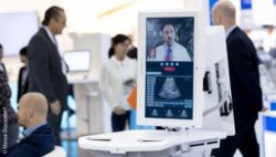 Image: screen of a telemedical system at MEDICA; Copyright: Messe Düsseldorf